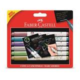 Marcadores Punta Pincel Metalizados X6 Faber Castell