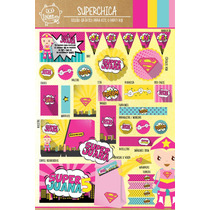Kit Imprimible Superchica Heroina Heroe Candy Bar Deco!
