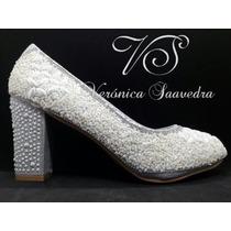 Zapatos Mujer Novia Taco Bajo