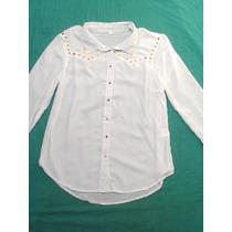 Camisa Blanca Manga Larga Con Puas Mujer Nueva Talle L