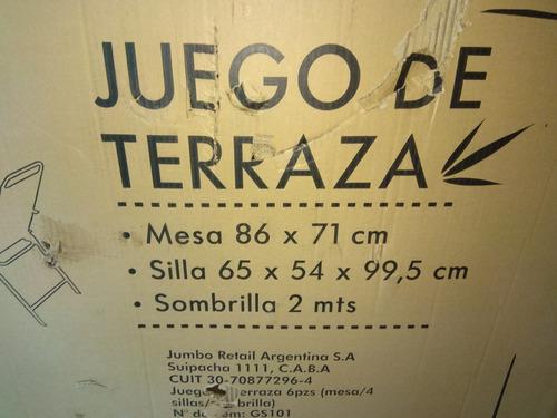 Fino Juego Jardin Mesa 4sillas Sombrilla Nuevos Caja Cerrada