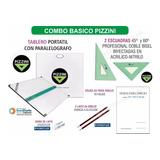 Kit Tablero Pizzini De Dibujo Tecnico Escuadras Hojas Y Más