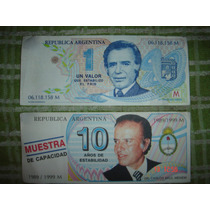 Billetes $1 Y $10 Combo Menem Trucho Decada Del ´90 Nuevos