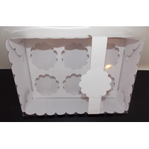 Caja Pvc ( Tipo Acetato) Transparente Pack 6 U P/ 6 Cupcake