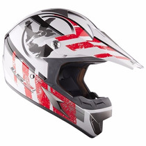 Casco Ls2 Mx 433 Cross Stripe Rojo Motocross Enduro Atv Fas.