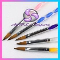 Pincel Para Acrilico X5 Uñas Esculpidas Acrilicas Nail Art