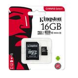 Memoria Micro Sd 16gb Kingston Clase 10 Full Hd 80mb/s Con Adaptador Sd