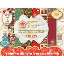 Kit Imprimible 6 Fondos Navidad Infantiles + Moldes Cajitas