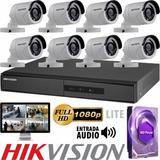 Kit Seguridad Hikvision Dvr 8 + 1tb + 8 Camaras Exterior P2p