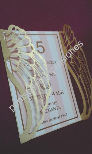 Invitaciones 15 Años Alas Caladas Estilo Victoria Secret