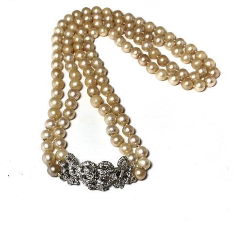 78c8ddcb4165 Collar De Perlas Cultivadas De Mar Impresionante Broche Oro en venta ...