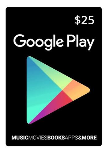 Tarjeta Google Play 25 U$ Usa | Entrega Inmediata- Gamer24hs