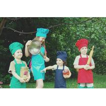 Conjunto Niños Infantil Cocineritos Delantal + Gorro Chef