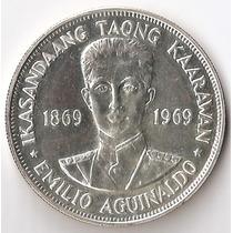 Filipinas, Piso, 1969. Plata. Emilio Aguinaldo. Sin Circular