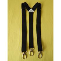 Tirador Pantalón Suspenders Mosquetones Presillas Negro 3cm