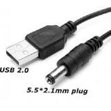 Cable Usb A Ficha Pin 5.5x2.1mm. Apto Para Alimentación  5v