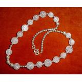 65d8bb260d97 Collar Cristal De Roca Bolitas Enhebradas Cadena Plata 900