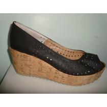 Zapatos Stilettos Calados Boquita De Pez Taco Chino Corcho