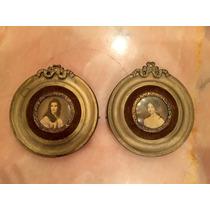Cuadritos Miniaturas Frances , Marco De Bronce