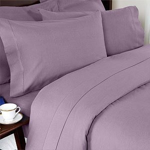 Algodón Sin Arrugas Blend Solid Lilac Cal King Funda De Edr