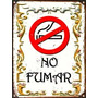 Cartel De Chapa Vintage Retro Fileteado Prohibido Fumar L337