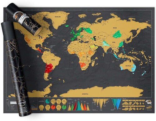 Mapa Mapamundi Para Raspar Rascar Mundo Viaje Palermo