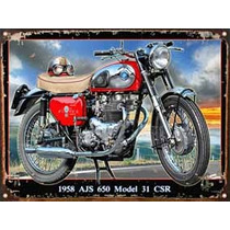 Cartel De Chapa Publicidad Antigua 1958 Ajs 650 M262