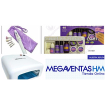 Kit Inicial Uv Cabina Torno Tips Moldes Pincel Completo