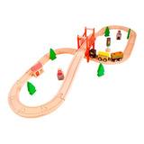 Acool Tren Vias 37 Pzas Puente Accesorios Madera Ac7504 Full