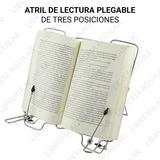 Atril De Lectura Partituras Metalico Cromado Plegable 3 Pos