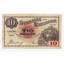 Suecia Billete De 10 Kronor Año 1940