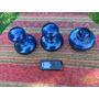 Lote D 3 Antiguos ? Perfumeros Polvera Tocador Vidrio Azul