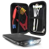 Arrancador Auto Portátil Cargador Celular Batería Auto Camioneta Moto Power Bank Multi Cable + Estuche