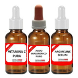 Kit X 3 Activos: Vitamina C + A Hialuronico + Argireline Uso Manual Marca Dermaprof
