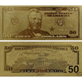 Estados Unidos Billete 50 Con Baño De Oro 24 Kilates!!!