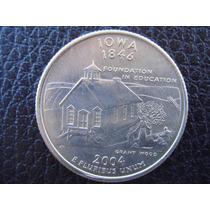 U. S. A. - Iowa, Moneda De 25 Centavos (cuarto), Año 2004