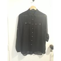 49f85a4d7 Camisa Marca Opr Collection Gasa Negra Botones Dorados Bolsi en ...