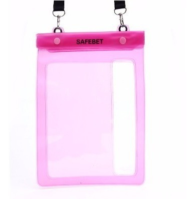 FUNDA SUMERGIBLE AGUA ZIP LOCK P/TABLET COLOR ROSA