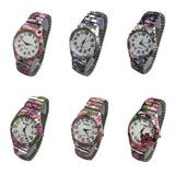 Reloj Mujer Floreados Metal Elastizado X 5 Unidades X Mayor *** Full-time Mania *** Mercadolider Platinum !!
