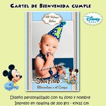 Mickey Bebé Cartel Cumpleaños Primer Añito Bienvenida Foto