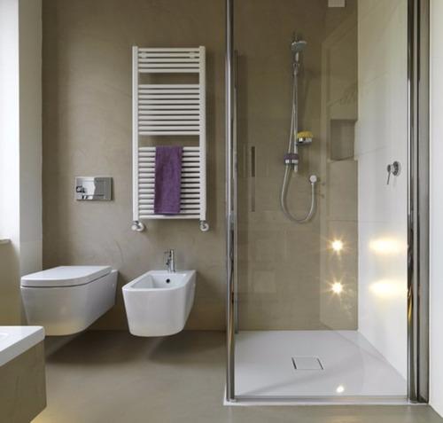 Piso Microcemento Revestimiento Colocación Baño Cemento