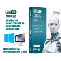 Eset Nod32 Antivirus 2016 Licencia 1 Año Clave Original 1 Pc