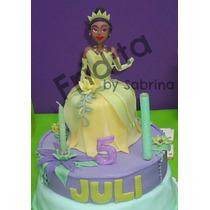 Tiana - La Princesa Y El Sapo En Porcelana Fria Torta Falsa