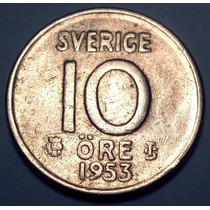 Suecia 10 Ore 1953 Plata * Gustaf V *