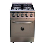 Cocina Industrial Saho Jitaku 550 4 Hornallas  A Gas Plateada 220v Puerta Ciega