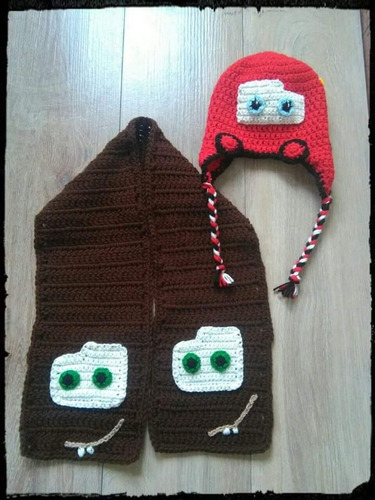 Gorro Y Bufanda Conjunto Tejido A Crochet Cars Mate Rayo 2f22ab48dd1