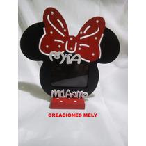 Souvenirs Portaretrato Mickey Y Minnie Con Nombre Y Frase.