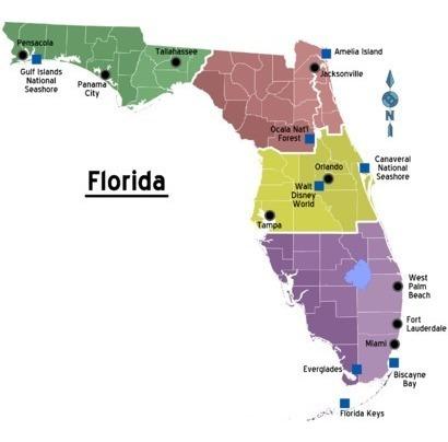 Ultimo Mapa De La Florida Estados Unidos Usa P/ Navegadores