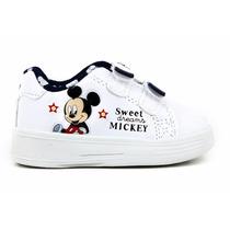 Zapatillas Addnice Disney Baby Mickey Velcro Luz Blanco