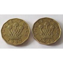 2 Monedas 3 Pence 1942 1943 Gran Bretaña